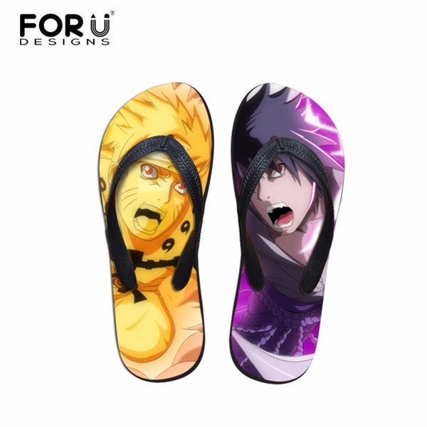 FORUDESIGNS Women's Sandals Beach Flip Flops Lady Slippers Anime Naruto Female Shoes Summer Sandals for Girl Flat Heel Casual