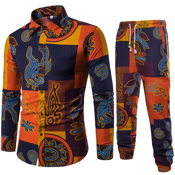 Male Linen Floral Set Long Shirts And Pants Ethnic Style Printed Man Holiday Travel Costume 5XL Big Size Europe Men Casual Suits