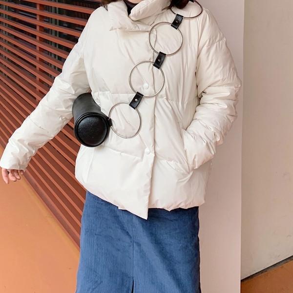 Las mujeres del metal del anillo de moda bolso de hombro de lujo bolsa de Niza retro personalidad Crossbody del mensajero de los bolsos de cuero de la PU
