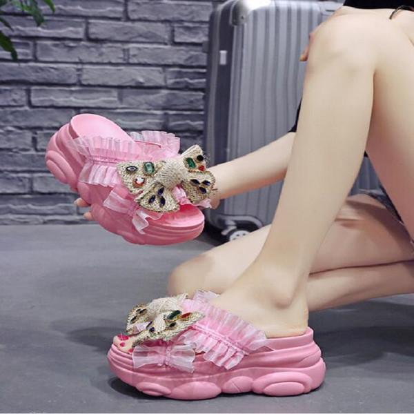 pantofole farfalla-annodato per la moda estate indossare la nuova stazione europea della focaccina spessa suola interna ladies'sandals altezza