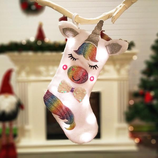 Led Unicorn Natal Meia de Natal Pendurado Decoração do partido Xmas candy Titular Grande Lindo Lantejoulas Unicorn Socks Com Luzes FFA2640