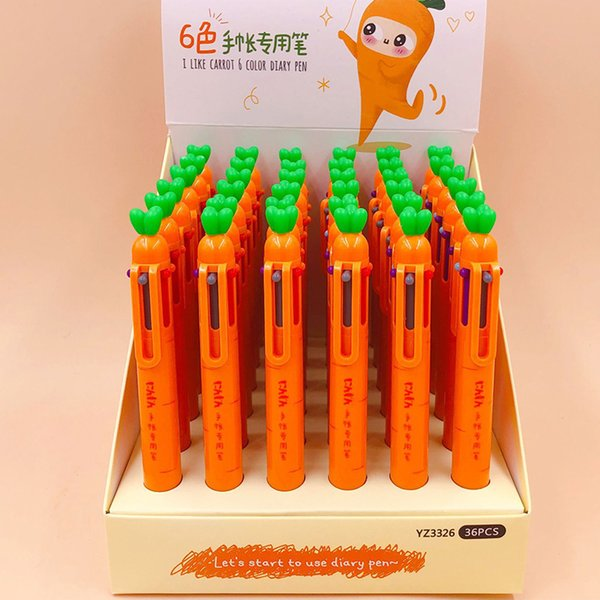 36 pcs/lot Carrot 6 Colors Ballpoint Pen Cute Multicolor roll ball pens School Office Supply Stationery gift Papelaria