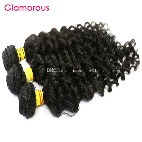 Glamorous capelli vergini indiani 3pcs profonda onda del corpo Queen prodotti per capelli doppia trama 12