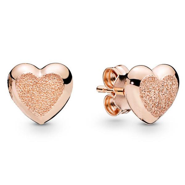 Authentische 925 Sterling Silber Ohrring Rose Matte Brilliance Herzen Ohrringe Für Frauen Hochzeitsgeschenk Edlen Europa Schmuck
