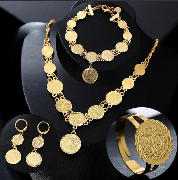 Croix-Moyen-Orient Bijoux En Laiton Plaqué Réel Or Arabian Coin Collier Boucles D'oreilles Bracelet Bague Femmes Ensemble