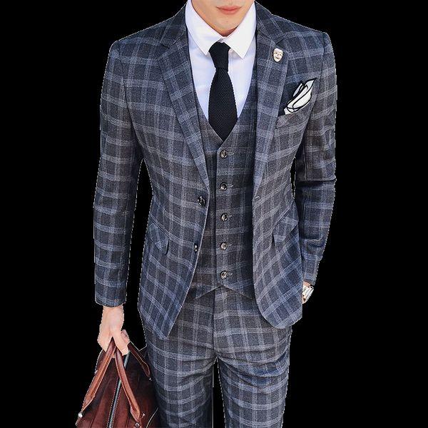 2019 trajes a cuadros de moda vintage de 3 piezas trajes de tweed para hombre gris azul masculino traje de boda Slim Fit