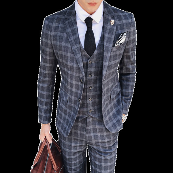 2019 Fashion Vintage Plaid Suits 3 Piece Tweed Suits Mens Grey Blue Male Wedding Costume Slim Fit