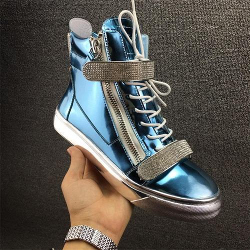 мужская повседневная обувь тренеры новые женские кроссовки с металлическим украшением заклепки лакированная кожа двойная молния высокая верхняя обувь 35-4