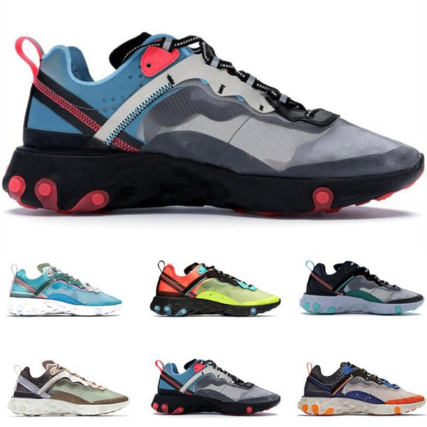2019 react element 87 undercover gray blue running shoes women mens trainers sail light bone breathable sports jogging designer shoes