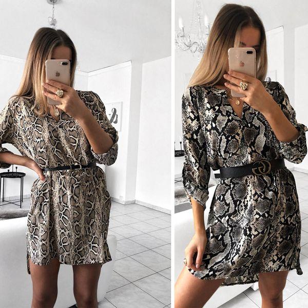 V-Neck Shirt Dress Snake Print Fashion Female Above Knee Mini Sexy Dress Women Long Sleeve Summer Clothes Vestidos