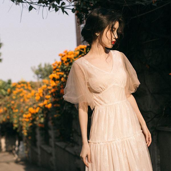Beste Qualität Series # Elegantes Abendkleid Aufflackern-Hülsen-Rüsche-Spitze-Ineinander greifen lange Maxi V-Ausschnitt Hochzeit Prom Guest Datum Frauen-Kleider 6972