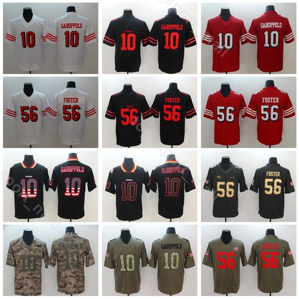huge selection of c9bd3 739b7 2019 San Francisco 49ers Football 10 Jimmy Garoppolo Jersey Men Vapor  Untouchable 56 Reuben Foster Jerseys Red Black White Salute To Service From  ...