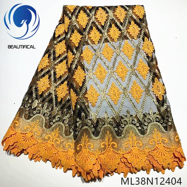 BEAUTIFICAL tessuti africani del merletto ultimo merletto guipure mix netta pizzo stile ricamo con le pietre per 5yards vestito / lotto ML38N124