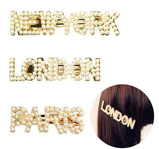 city name letters hairpins vintage faux pearl hair clip metal alloy straight side hair barrettes for women girls