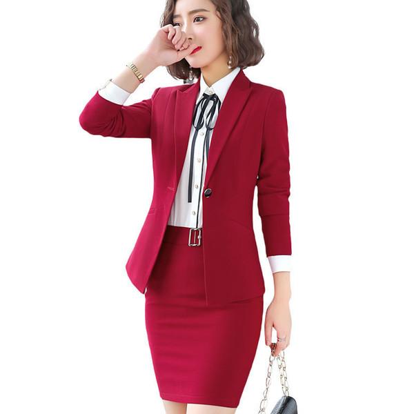 Rouge Mode Femmes Contre Un Veste À Manches Longues Robe Slim Jupe Costumes Deux Pièces Ensemble Grand Bureau Dame Vêtements De Travail