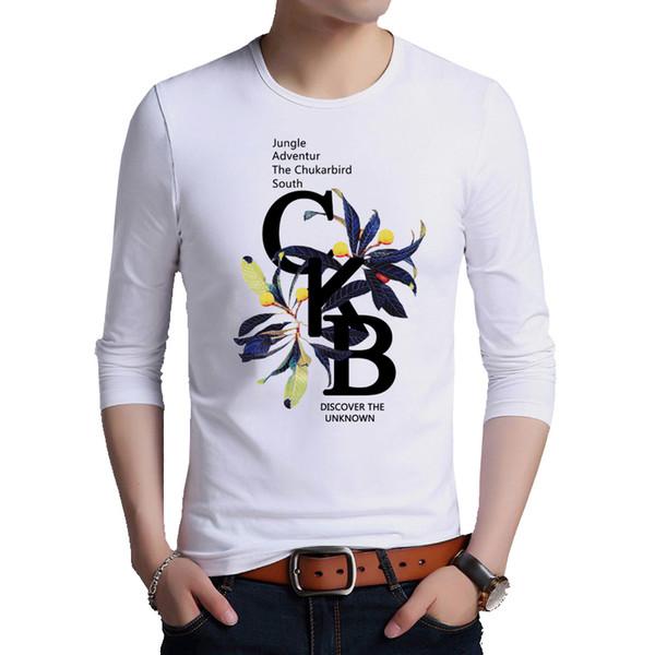 Browon Marque Hommes T-shirt À Manches Longues O-cou Regular Fit T-shirt Lettre Impression Casual Coton Surdimensionné T-shirt Taille M-5xl