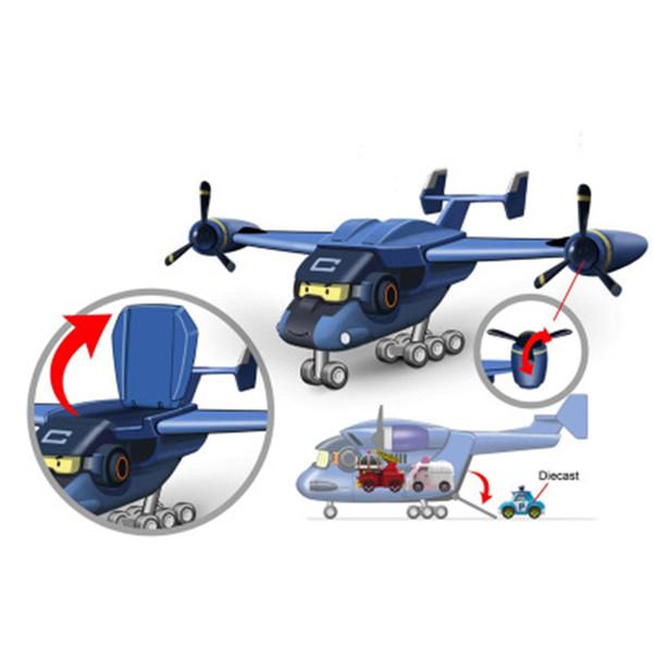 Silverlit Poli Carey Carrier Robocar LED блестящий электрический винтовой самолет со звуком и светом дети рождественский подарок