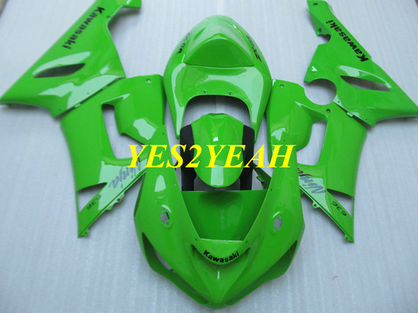 Kit de cuerpo de carenado de motocicleta para KAWASAKI Ninja ZX6R 636 05 06 ZX 6R 2005 2006 ABS Cool Green Fairings carrocería + Regalos KK14