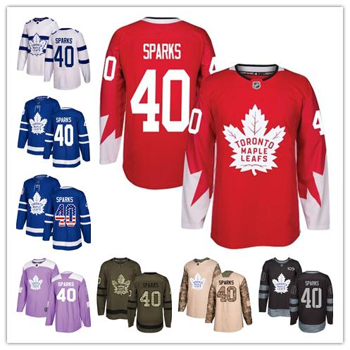 buy popular 35688 25e48 Toronto Maple Leafs jerseys #40 Garret Sparks jersey ice hockey men women  Blue white red Authentic winter classic Stiched gears Jersey