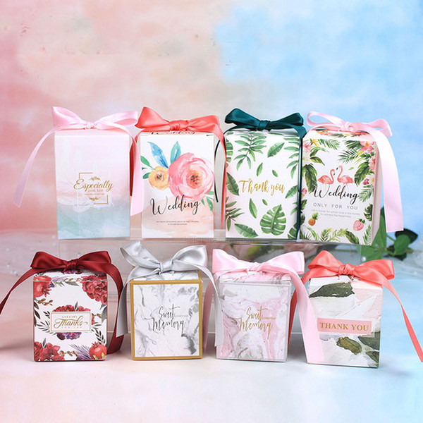 Newest Wedding Favor Candy Boxes Gift Box Paper for Wedding Decoration Gift Packing Bags with Ribbon Baby Shower Party Supplies