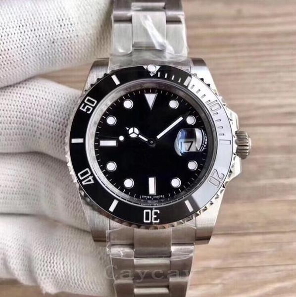 Top Quality Safira Homens Negros Relógios De Pulso De Aço Inoxidável Cavalheiros De Negócios Mecânico Automático Relógio Mens Calendário Relógios