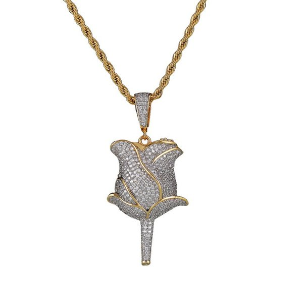 Men 18K Gold Plated Rose Flower Micro Hip Hop Jewelry Full Rhinestone Fashion for Men