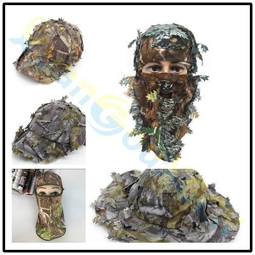 3D outdoor Geely clothing full face mask hood headgear Camo leaves caps fishing camouflage hunting hat headwear masks