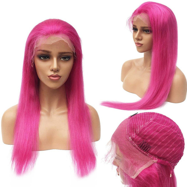 Pink Red Human Hair Lace Front Wig for Women with Baby Hair,Prepluked Hairline Straight Brazilian Virgin Human Hair Wigs 12 Inch