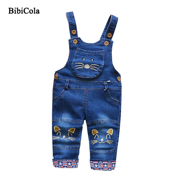 good quality 2019 New Children Girls Jeans Bib Straps Cowboy Trousers Baby Boys Pants Spring Unisex Kids Clothing Boys Girls Pants
