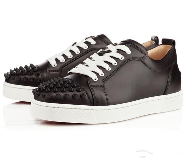 Дизайнер Спайк Красное дно низкий топ кроссовки кожаные мокасины младший теленок повседневная мокасины обувь замша роскошные мужчины женщины размер с коробкой мешок пыли