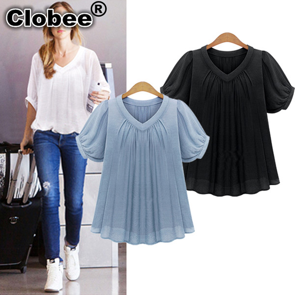 Womens Summer Tops 2020.2019 Women Chiffon Blouse 2020 Summer Style Plus Size Loose Pleated Black And Blue Color Blusas Chiffon Short Sleeve Casual Tops Sale From Tielian