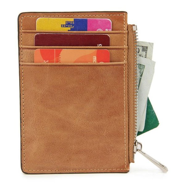 Wholesale- Portable Coin Purse Genuine Leather ID Card Holder Credit Card Case Zipper Storage Men Vintage Wallet Rfid Blocking Change Bag
