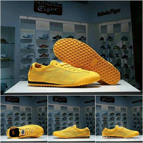 new concept 3df2b f9efc 2019 Mexico66 As Originals Onitsuka Tiger Weaving Net Surface Running Shoes  Bruce Lee Yellow New Color Lightweight Sports Sneakers From ...