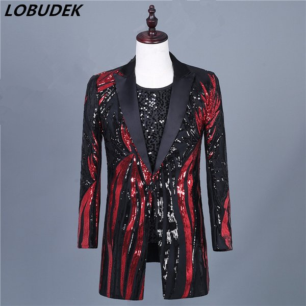 Shining Black Red Sequined Long Coat Suit Jackets Tide Male Singer Host Performance Costume Stage Sequins Show Blazers Overcoat