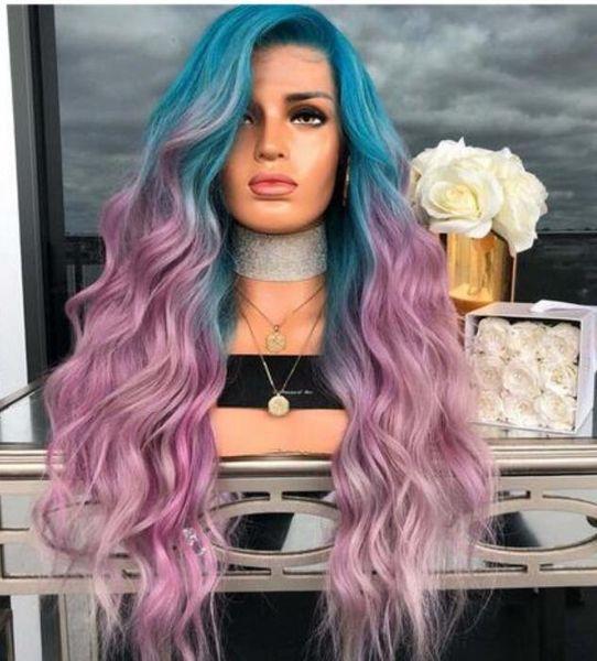 Européen et Américain New Blue Gradient Purple Coloré Curls Cheveux Synthétiques Grande Vague Cosplay Perruque Naturel Long Full Curly Hair