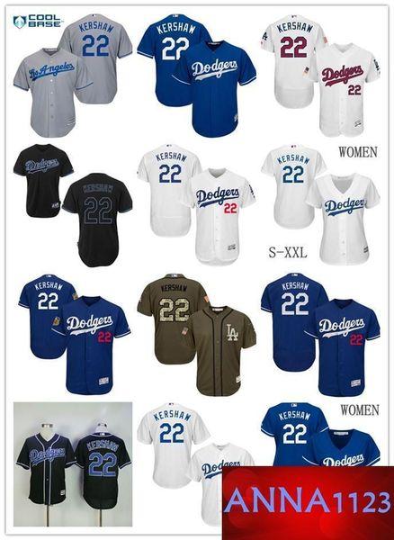 2019 Men's LA Ls As Dodgers # 22 Clayton Kershaw 100% camiseta de béisbol cosida en azul blanco para hombres y mujeres jóvenes talla S-XXXL