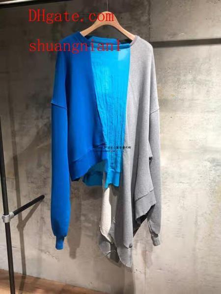 2019 Felpa di marca Maglione girocollo irregolare abbinato al colore Felpa Felpe con cappuccio da donna Top da donna Pullover Maglione Abbigliamento da donna mm-3