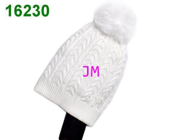 2019 moda de lujo tejer gorros de algodón bola de pelo de lana todo blanco de alta calidad Beanie cap mujer hombre invierno cálido cálido sombreros