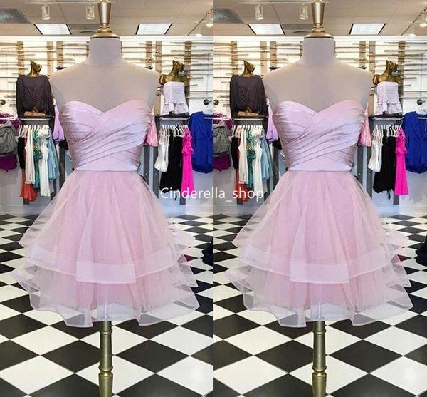 Schöne rosa Schatz kurze Heimkehr Kleider ärmellose Lace-up zurück Mädchen Cocktail Abschlussfeier Kleider billige Roben