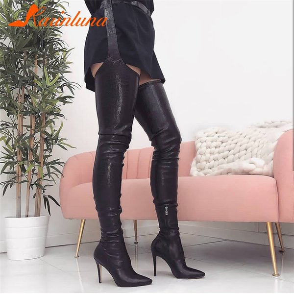 KARINLUNA PU Women High Heels Long Thigh High Boots Rihanna Style Over The Knee Boots For Women Shoes Pointed Toe Pleated Solid
