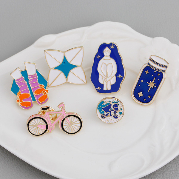 chinelos meninas bicicleta azul bicicleta desejo garrafa pins broches definir esmalte duro pinos Jeans chapéu saco de acessórios decorativos