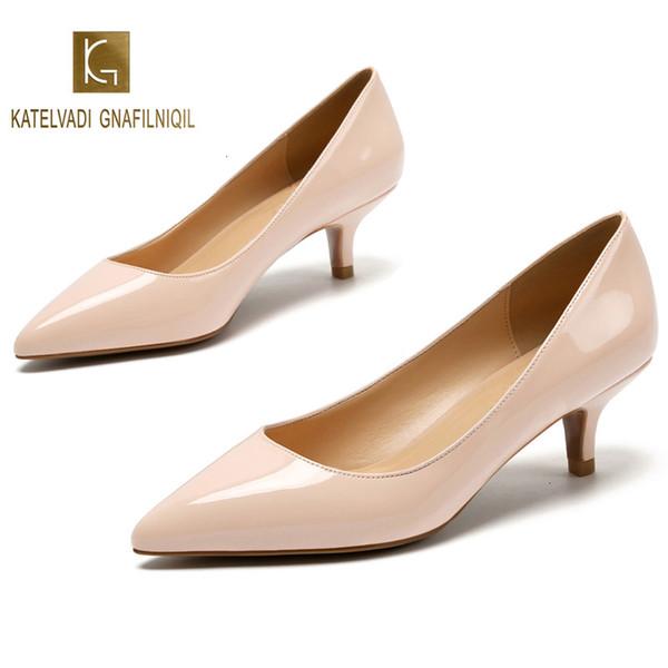5CM Talons Femmes Mariage Chaussure Nu Spring Chaussures Femme Escarpins en cuir verni beige Chaussures Femme Hauts talons bout pointu K-224MX190917