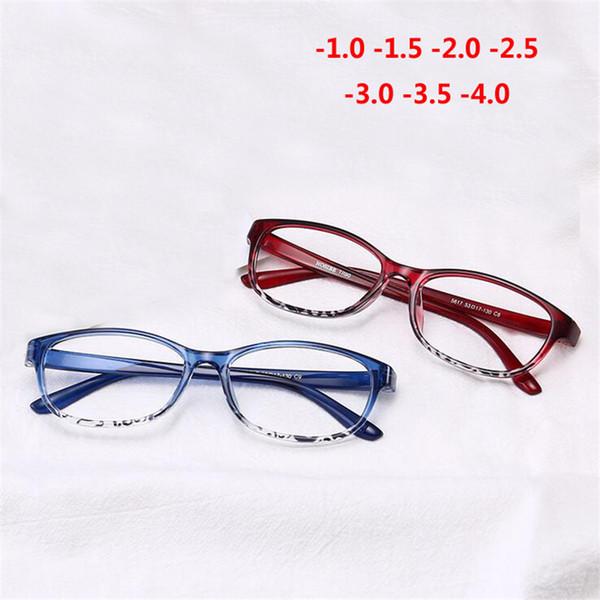 TR90 Occhiali da miopia quadrati rifiniti Donna Uomo Occhiali da vista per miopia Montatura rossa Occhiali per miopia -1,0 -1,5 -2,0 -2,5 -3 -3,5 -4,0