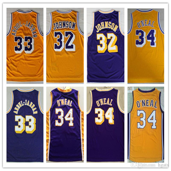 best selling NCAA 2019 Wholesale Cheap Earvin 32# Johnson jerseys Abdul 33# Jabbar Shirt 34# Shaquille O'neal Yellow Blue Basketball Jersey Embroidery sx