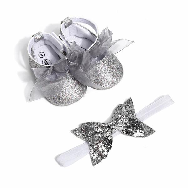 2019 Yeni Bebek Kız Bebek Rahat Giysiler Geometri Yumuşak Sole Beşik Ayakkabı Yenidoğan Ayakkabı Ev Kat Ayakkabı Ile kafa saç bandı
