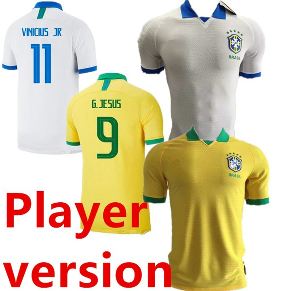 Player version 2019 2020 Brasil American Cup Home Yellow Soccer Jersey #11 P.COUTINHO Away White soccer shirt #12 MARCELO Football Uniforms