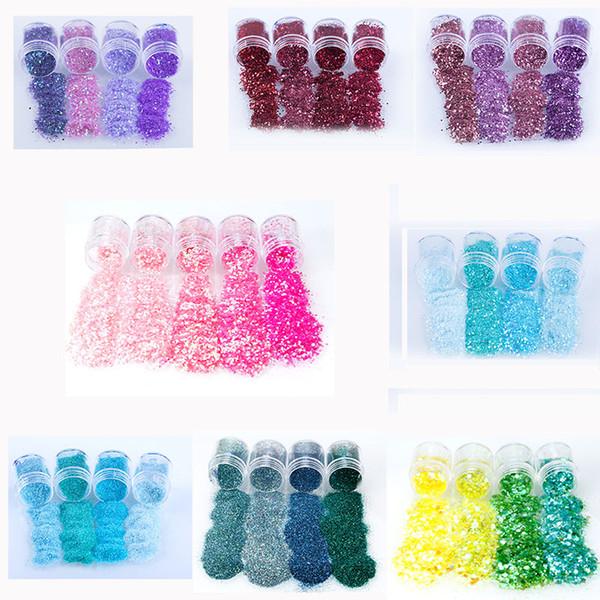 Nail Art Glitter 5 cajas / Set 3D Nail Art Glitter MEZCLAS Lentejuelas DIY Polaco Manicura Decoraciones