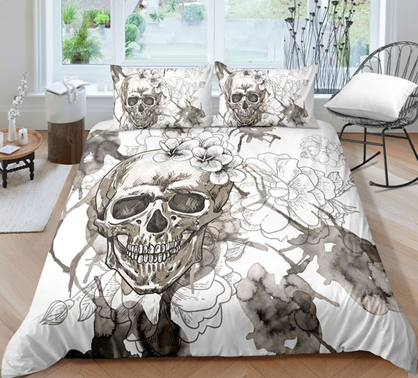 White Skull Bedding Set King Size Floral Head Duvet Cover Queen Home Textiles Single Double 3D Printed Bed Cover with Pillowcase