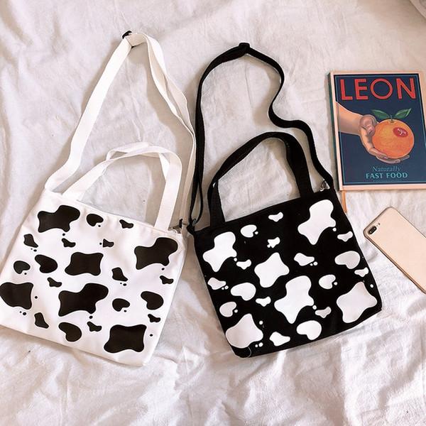 Women Milk Cow Pattern Shoulder Bag Tote Messenger Crossbody Satchel Purse with