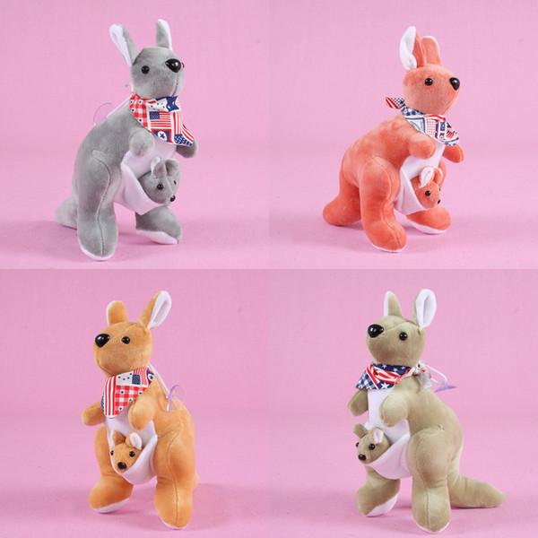 22 CM yumuşak peluş Oyuncaklar Avustralya kanguru bir bebek peluş hayvan kanguru taşıyan Anne ve oğlu koleksiyonu çocuk oyuncakları C